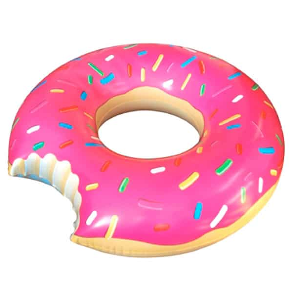 Inflatable pink donut buoy for pool parties