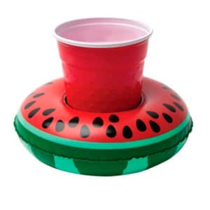 Inflatable watermelon cup holder buoy for pool parties